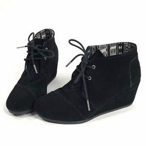 Black TOMS Lace-Up Wedges